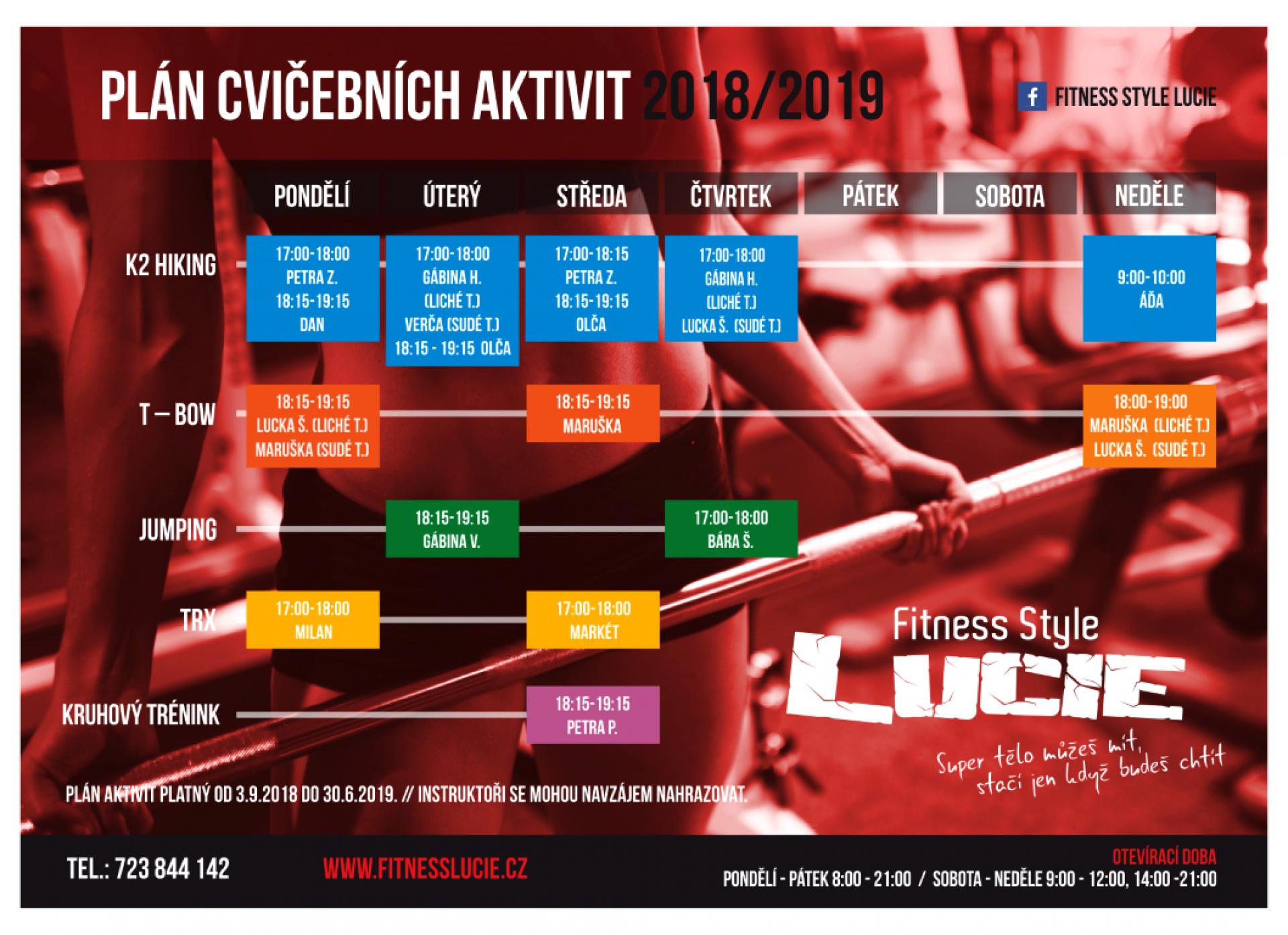 Plán cvičebních aktivit 2018/2019